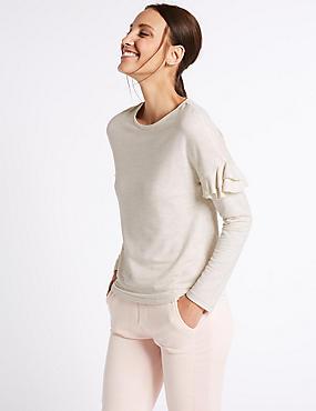 Round Neck Frill Sleeve Sweatshirt, OATMEAL, catlanding