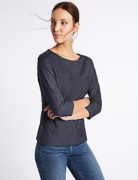 Cotton Rich Striped 3/4 Sleeve T-Shirt, NAVY MIX, catlanding