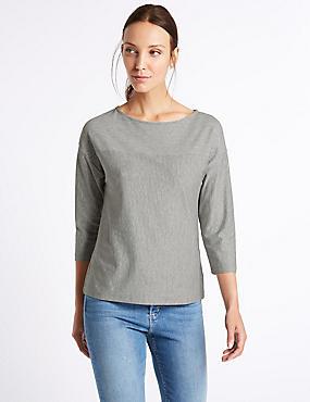Cotton Rich Striped 3/4 Sleeve T-Shirt, GREY MIX, catlanding