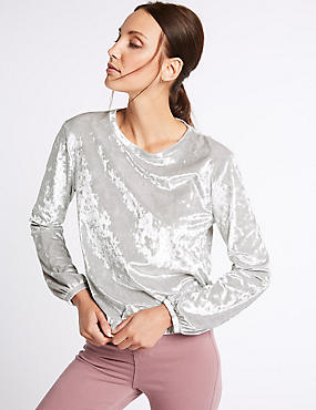 Crushed Velvet Long Sleeve Sweatshirt, SILVER, catlanding