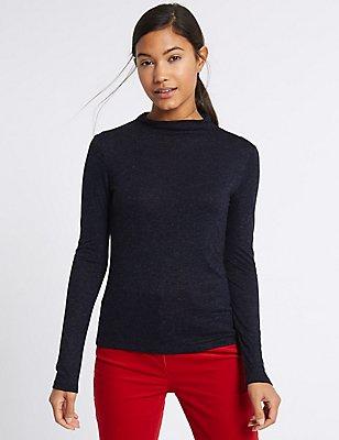High Neck Long Sleeve T-Shirt, NAVY MARL, catlanding