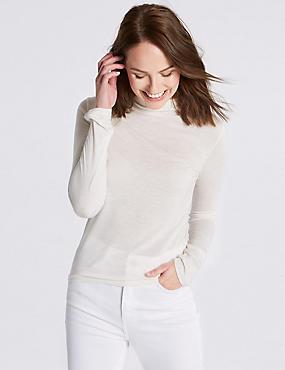 High Neck Lightweight Long Sleeve T-Shirt, OATMEAL, catlanding