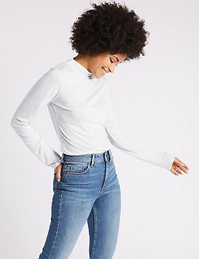 High Neck Long Sleeve T-Shirt, GREY MARL, catlanding