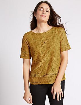 Aztec Lace Short Sleeve Jersey Top, OCHRE, catlanding