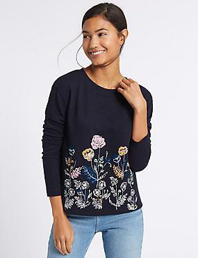 Floral Print Long Sleeve Sweatshirt, NAVY MIX, catlanding
