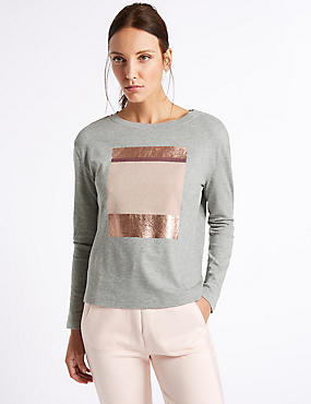 Textured Foil Placement Sweatshirt, GREY MIX, catlanding