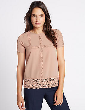 Lace Round Neck Short Sleeve T-Shirt , BLUSH, catlanding
