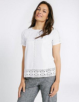 Lace Round Neck Short Sleeve T-Shirt , IVORY, catlanding