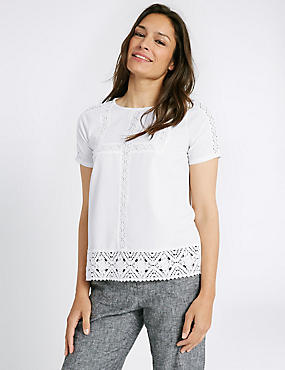 Lace Round Neck Short Sleeve T-Shirt , IVORY, catlanding