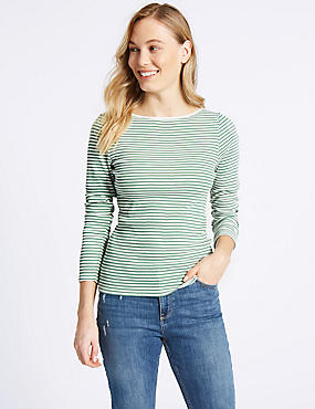 Cotton Blend Striped Slash Neck Rib T-Shirt, GREEN MIX, catlanding