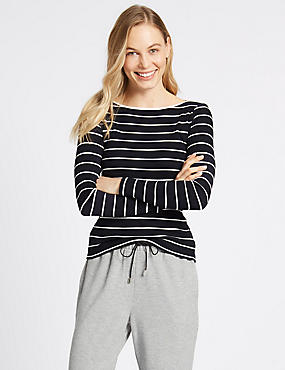 Cotton Blend Striped Slash Neck Rib T-Shirt, IVORY MIX, catlanding