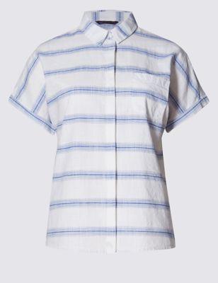Рубашка из чистого хлопка в редкую двухцветную полоску