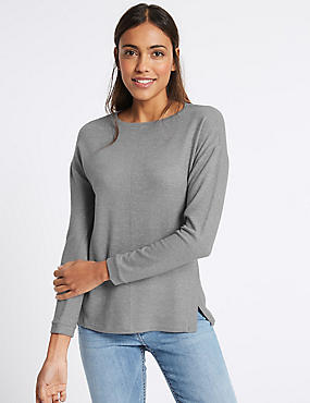 Knitted Round Neck Long Sleeve T-Shirt, GREY, catlanding