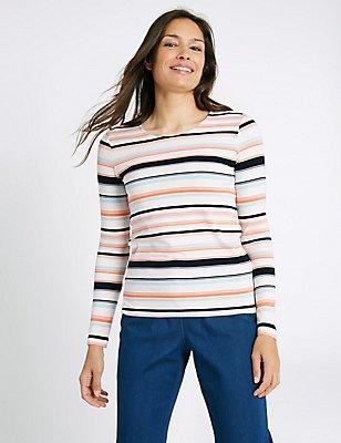 Ponte Stripe Round Neck Long Sleeve T-Shirt, IVORY MIX, catlanding
