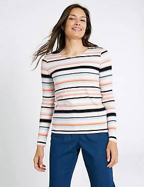 T-shirt Ponte à manches longues, encolure ronde et rayures, IVOIRE ASSORTI, catlanding