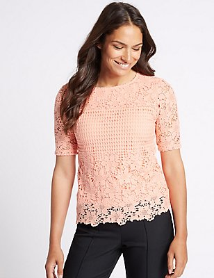 Pure Cotton Border Lace Round Neck T-Shirt, CORAL, catlanding