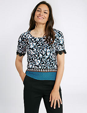 Floral Print Lace Sleeve Round Neck T-Shirt, TEAL MIX, catlanding