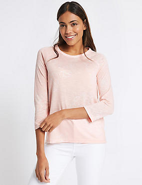 Floral Print Raglan ¾ Sleeve T-Shirt, PINK MIX, catlanding