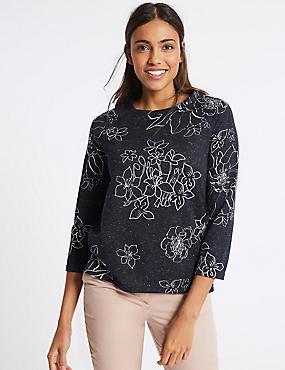 Floral Print Raglan ¾ Sleeve T-Shirt, NAVY MIX, catlanding