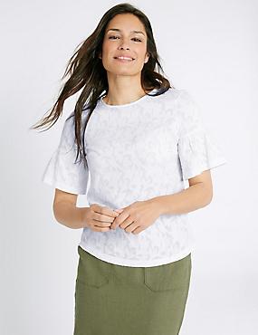 Textured Flared Sleeve Round Neck T-Shirt, SOFT WHITE, catlanding