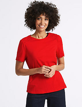 Pure Cotton Round Neck Short Sleeve T-Shirt, RED, catlanding