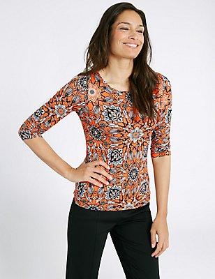 Mosaic Print Round Neck 3/4 Sleeve T-Shirt, TEAL MIX, catlanding