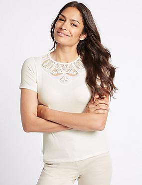 Lace Detail Round Neck Short Sleeve T-Shirt, IVORY, catlanding