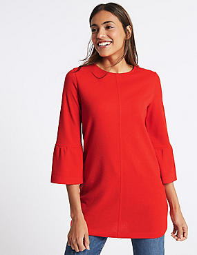 Flute Cuff Round Neck Tunic, RED, catlanding