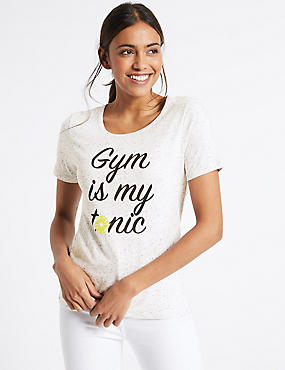 Cotton Rich Statement Gym Slogan T-Shirt, GREY MARL, catlanding