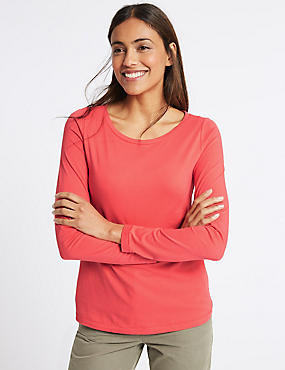 Pure Cotton Round Neck Long Sleeve T-Shirt, POPPY, catlanding
