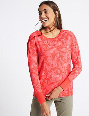 Pure Cotton Floral Print T-Shirt, PINK MIX, catlanding