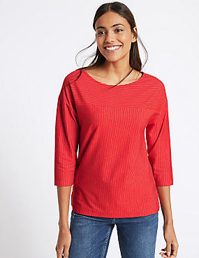 Cotton Rich Striped ¾ Sleeve T-Shirt , RED MIX, catlanding