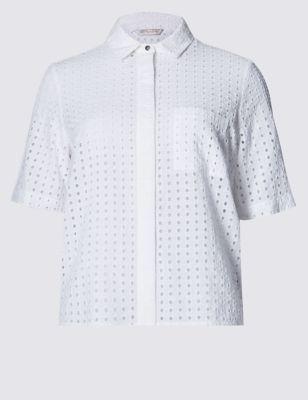 Рубашка из чистого хлопка с перфорацией