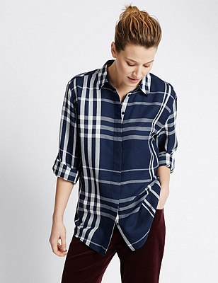 Checked Boyfriend Shirt, NAVY MIX, catlanding