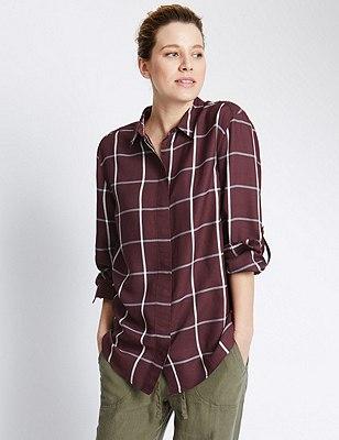 Checked Boyfriend Shirt, MULBERRY MIX, catlanding
