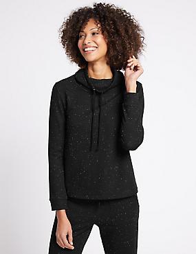 Cotton Blend Printed Long Sleeve T-Shirt, BLACK MIX, catlanding