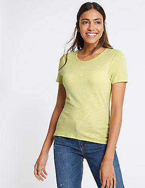 Keyhole Bow Tie Back Short Sleeve T-Shirt, LIME, catlanding