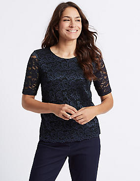 Lace Front Round Neck Half Sleeve T-Shirt, NAVY MIX, catlanding