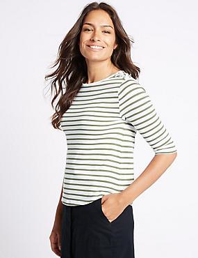 Pure Cotton Striped 3/4 Sleeve T-Shirt, KHAKI, catlanding
