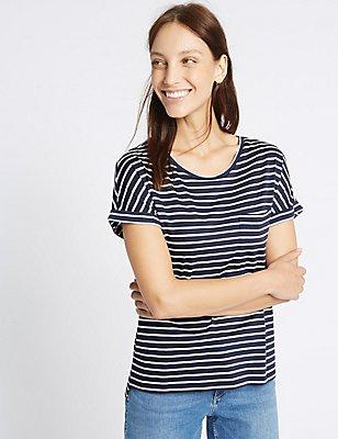Modal Rich Striped Short Sleeve T-Shirt, NAVY MIX, catlanding