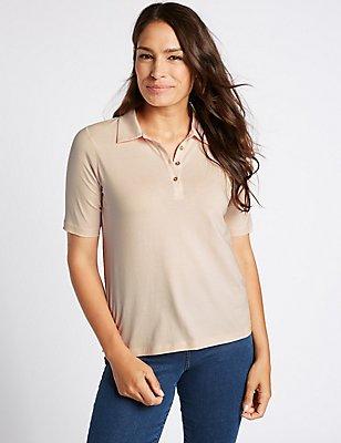 Pure Cotton Short Sleeve T-Shirt, PALE PINK, catlanding