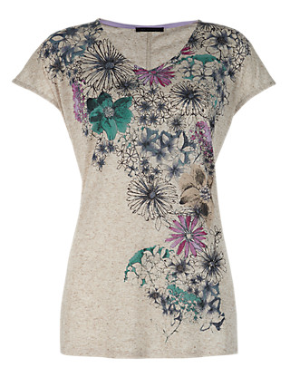 Floral Top with Linen Clothing