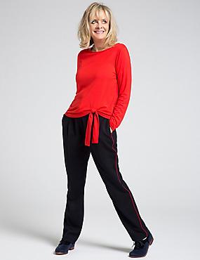 Modal Rich Tie Side Long Sleeve T-Shirt, RED, catlanding
