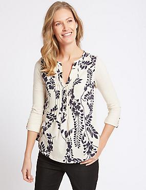 Cotton Rich Floral Print Long Sleeve Blouse, IVORY MIX, catlanding