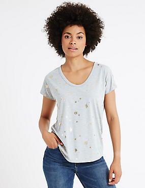 Foil Star Print Short Sleeve T-Shirt, GREY MIX, catlanding