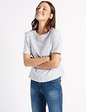 Gestreept T-shirt van puur katoen met korte mouwen, BLAUW MIX, catlanding