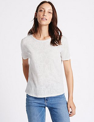 Cotton Blend Burnout Print T-Shirt, SOFT WHITE, catlanding