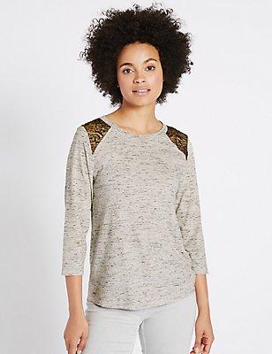 Cotton Rich Textured Lace Shoulder T-Shirt, OATMEAL MIX, catlanding