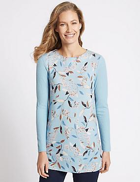 Floral Print Rib Sleeve Round Neck Tunic, BLUE MIX, catlanding