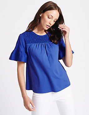 Pure Cotton Shirred Flare Sleeve T-Shirt, COBALT, catlanding
